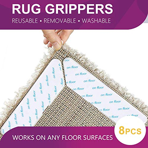 Acksonse Rug Grippers 8 pcs Anti Curling and Non Slip Rug Gripper Carpet Gripper for Corners and Edges Renewable Gripper for Carpet and Hardwood Floors Safe for Wood Floors Indoor & Outdoor Rugs US