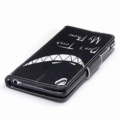 Yiizy Sony Xperia XA Custodia Cover, Denti Sorridono Design Sottile Flip Portafoglio PU Pelle Cuoio Copertura Shell Case Slot Schede Cavalletto Stile Libro Bumper Protettivo Borsa