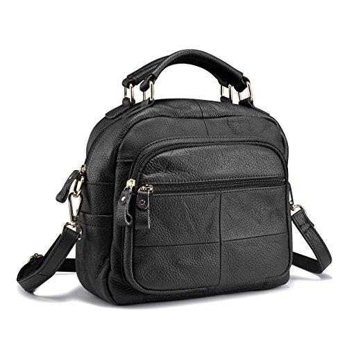 Lecxci Women Leather Satchel Purses Ladies Crossbody Shoulder Bags Multiple Zipper Pockets Top Handle Handbags (Black) by Lecxci