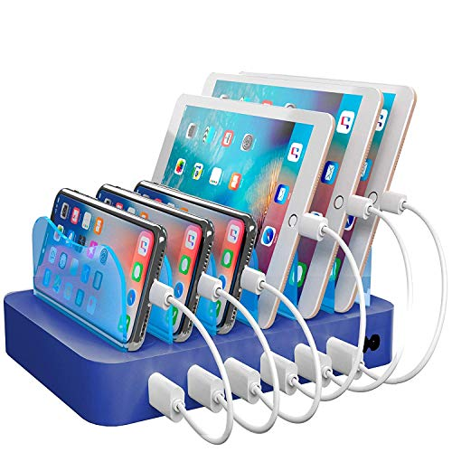 Hercules Tuff Charging Station for Multiple Devices, with 6 USB Fast Ports and 6 Short Mixed USB Cables Included for Cell Phones, Smart Phones, Tablets, and Other Electronics, Blue