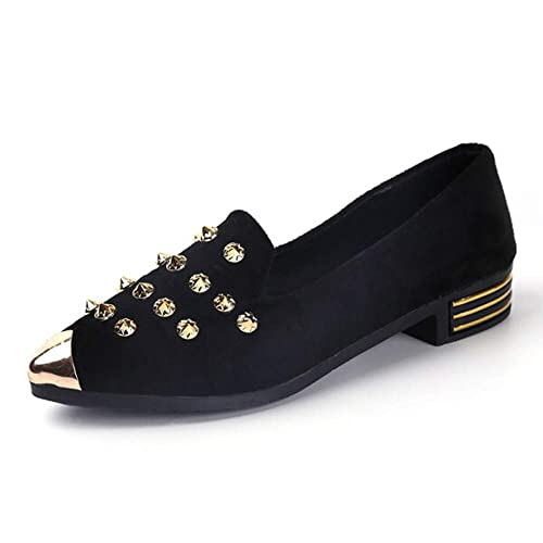 Women/'s Ladies Slip On Casual Loafers Studded  Flat Ballerina Pumps Shoes Size