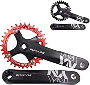 BUCKLOS 【US Stock】 MTB 170mm Square Taper Crankset, 104 BCD Mountain Bike Narrow Wide Tooth Chainring 32/34/36