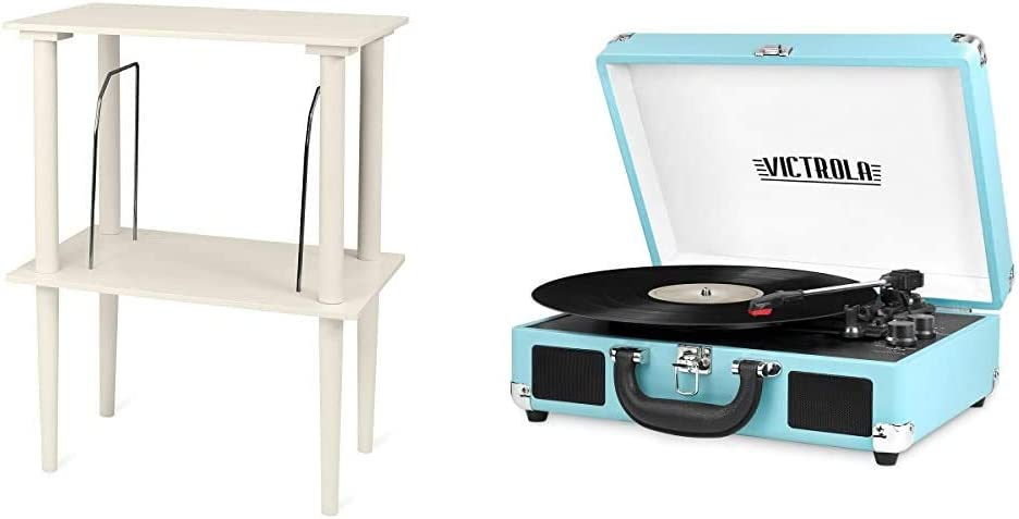 Victrola Wooden Stand for Wooden Music Centers with Record Holder Shelf, White & Vintage 3-Speed Bluetooth Portable Suitcase Record Player with Built-in Speakers   Upgraded Turntable Audio Sound