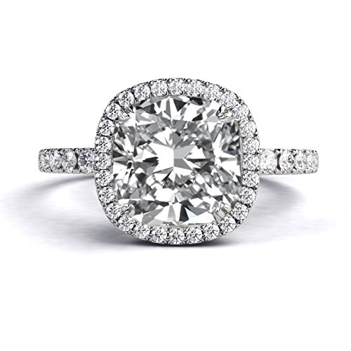 2.50 ctw Forever One VS Moissanite Engagement Ring with Diamonds 14K White Gold Halo Micro Pave Cushion