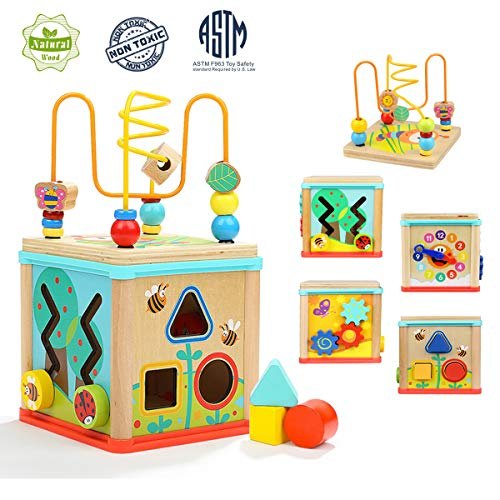Aitey Activity Cube Toddler Toys Baby Educational Learning Toys Wooden Bead Maze Shape Sorter for 1 2 Year Old Boy and Girl Toddlers Gift Small Size