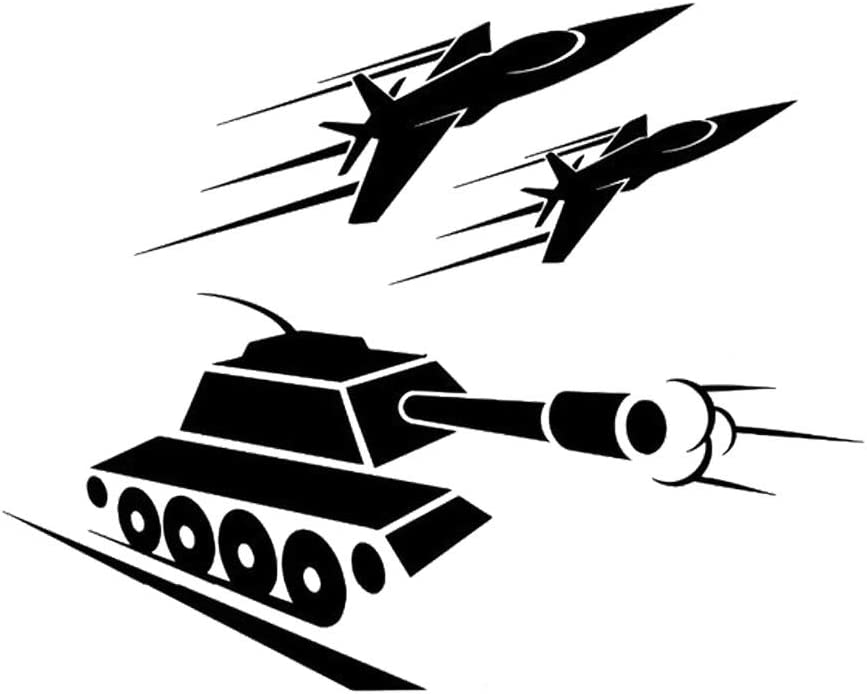 BooDecal Military Tank and Rockets Silhouette Vinyl Wall Sticker Panzer Decal War Army Machine Home Interior Decorations Forces Art Kids Boys Room Playroom Decor
