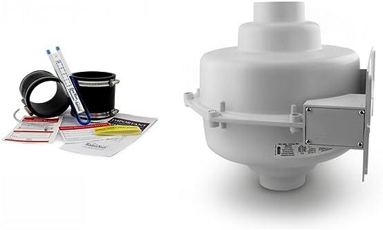 RadonAway GP501 Radon Fan Install kit Two 3 x3 Black Couplings U-Tube Vacuum Gauge Radon System Labels