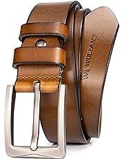WOLFANT Cinturón de cuero de grano entero para hombre, cinturón de jeans casuales de cuero sólido 100% italiano