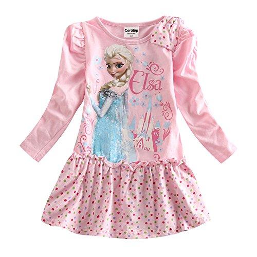 [IGO.]Frozen cartoon baby girls skirt autumn cotton Long sleeve dress NB001_4Y-5Y (Toddler Frozen Dress)