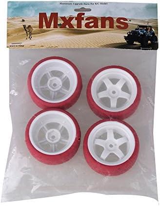 Mxfansホワイトプラスチック5スポークホイールリム+赤矢印パターンラバータイヤfor RC 1: 10On Road Car Set of 4