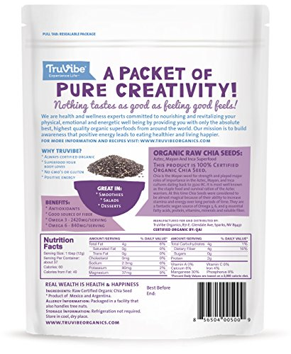 TruVibe -2 Lbs- 100% Organic Chia Seeds, 16 Ounce Pouches (2 Pack)