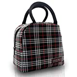 COCO BAGS Insulated Lunch Bag Oxford Cloth Tote for Women Compact Lunch Organizer Lunch Holder Cooler Bag Handbag for Adults Kids Students(Black and Red Plaid)