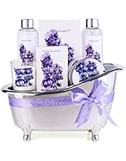 Bath Gifts for Women, Body & Earth Spa Gift Set for Womens, Lavender Scented, 7 Pcs Bath Sets with Shower Gel, Bubble Bath, Bath Salts, Body Lotion, Scented Candle, Best Gift for Her