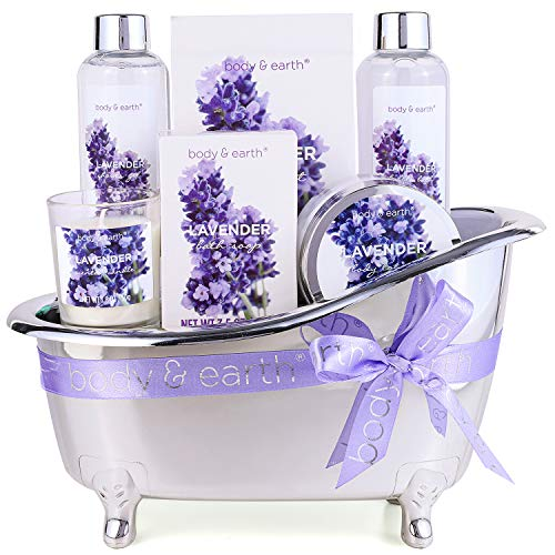 Gift Basket for Women – Bath Spa Baskets Gift Set for Women, Body & Earth 7 Pcs Lavender Bath Gifts for Birthday Mom…