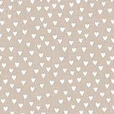 Pretty Mini White Heart Napkins, 20 pack, 3 ply 33 x 33cm