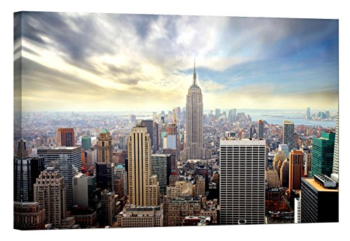 LightFairy Glow in The Dark Canvas Painting - Stretched and Framed Giclee Wall Art Print - City Urban Decor Empire State Building - Master Bedroom Living Room Decor - 6 Hours Glow - 46 x 32 inch