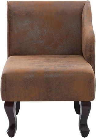 Festnight Diván Sofá Chaise Longue de Piel de Ante Artificial Color Marrón 108 x 53 x 68 cm