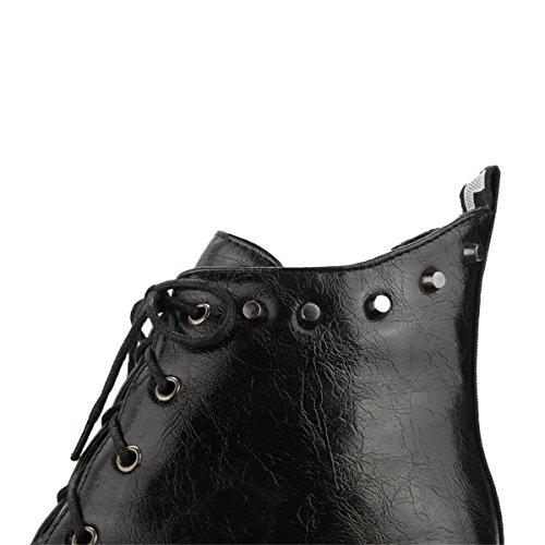 YE Damen Keilabsatz Plateau Stiefeletten mit Schnürung und Schnallen 7cm Absatz Ankle Boots Weiß