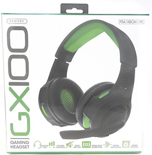 Sentry Computers Headphones - GX100 Gaming Headset PS4 XBOX1 PC 40mm Drivers Noise Isolation Simulated Surround Boom Mic (Green/Black)