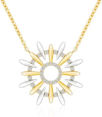 Fine Silver Abstract Starburst Necklace with Purple CZ