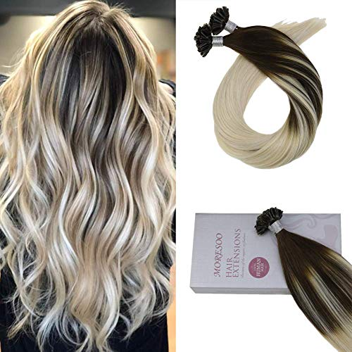 (Moresoo Hair 18 Inch Tipped Hair Extensions Color Balayage #2 Brown Fading to #60 Blonde Balayage Keratin Bonded Hair Extensions 1g/s 50g Per Package Remy Utip Human Hair Extensions)