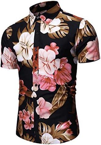 Tralounry Men Color Block Square Collar Fashion Short Sleeve Shirts