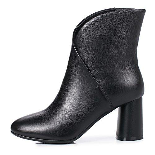 o Tacon Cuero Negro Botas Biker Mujer Boots Invierno ANNIESHOE Oto XHRw0qIWxx
