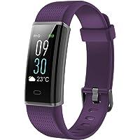 Vigorun Pulsera Inteligente IP68 Impermeable Fitness Tracker Deporte Rastreador de Actividad de Pantalla Colorida con Pulsómetro/Smart Podómetro SMS/SNS Alerta, para iOS y Android (Púrpura)