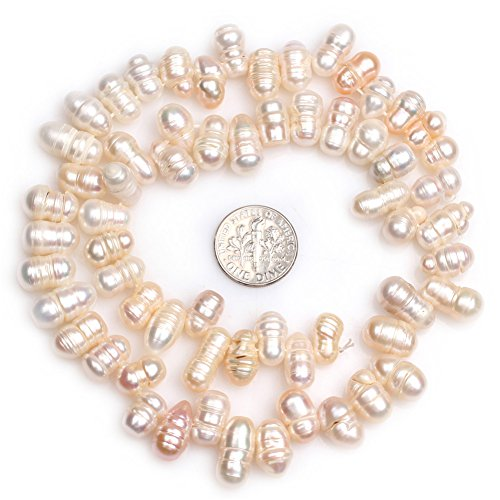 Freshwater Cultured Pearl Beads for Jewelry Making Natural Gemstone 8x10mm Top Drilled White 15