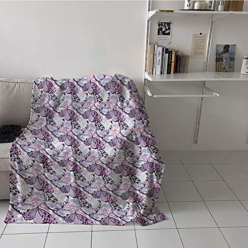 Price comparison product image Khaki home Children's Blanket Digital Printing Oversized Travel Throw Cover Blanket (35 by 60 Inch, Butterfly, Artistic Wings in The Shades of Purple with Spotty Grunge Camo Style, Lavender Lilac Violet