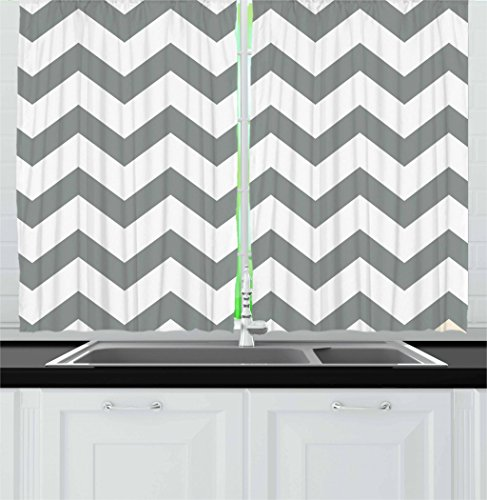 - Ambesonne Grey Kitchen Curtains, Grey and White Chevron Pattern Classic Geometrical Horizontal Zig Zag Stripes Retro, Window Drapes 2 Panel Set for Kitchen Cafe, 55 W X 39 L Inches, Grey White