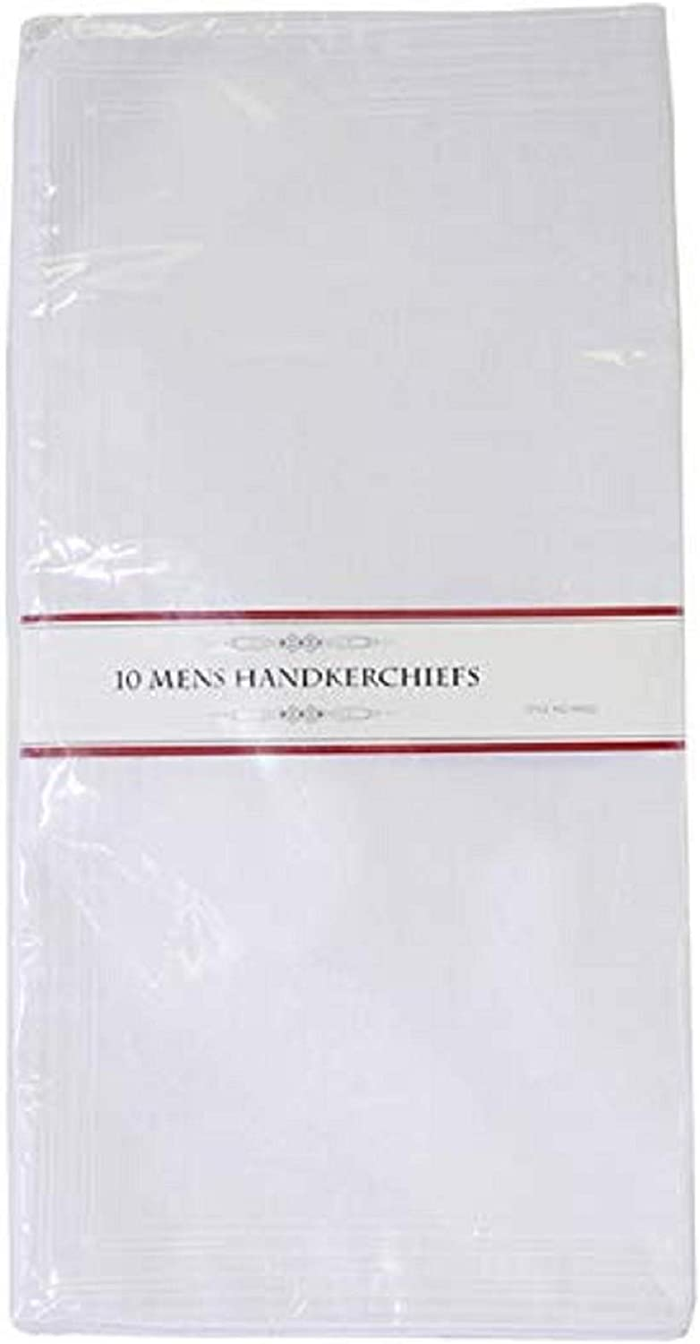Mens handkerchiefs Mens Poly//Cotton White Handkerchiefs Pack of 10 with Imprinted Border Detail.