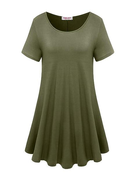 BELAROI Women\'s Short Sleeve Tunic Tops Plus Size T Shirt ...