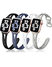 Getino Compatible with Apple Watch Band 40mm 38mm 42m 44mm, Stylish Durable Soft Silicone Slim Sport Wristbands Replacement Bands for iWatch SE Series 6 5 4 3 2 1 Women Men, 4 Pack