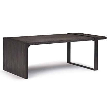 66781324f5915 Amazon.com  Simpli Home AXCMTG-01 Montgomery Solid Acacia Wood and Metal 50 inch  Wide Modern Industrial Coffee Table in Distressed Dark Brown  Kitchen   ...