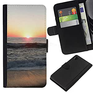 KingStore / Leather Etui en cuir / Sony Xperia Z2 D6502 / Sunset Beautiful Nature 66