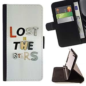 For HTC One Mini 2 M8 MINI Case , Perdido Estrellas Texto Gris Metal inspirada- la tarjeta de Crédito Slots PU Funda de cuero Monedero caso cubierta de piel