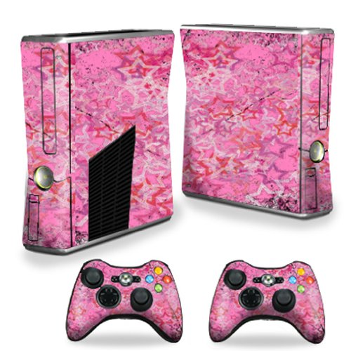 MightySkins Protective Vinyl Skin Decal Cover for Microsoft Xbox 360 S Slim + 2 Controller skins wrap sticker skins Pink Star