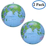 """2 Pack Inflatable Globe World Map Beach Ball Blow Up Balloon Kids Toy Gift, Earth Atlas Geography Political & Topographical Globe Learning Resources Teacher Aid Education Tool, Inflatable 30 cm/12""""."""