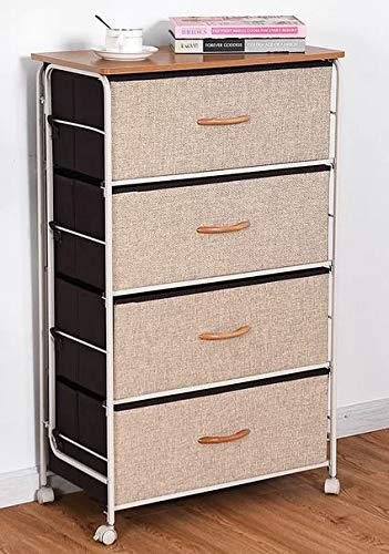 Amazon.com: Chester Drawers - Black Brown Four Woven Linen Fabric ...