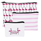 Set of 3 Assorted Midwest CBK Flamingo Print Canvas Zippered Cosmetic Bags