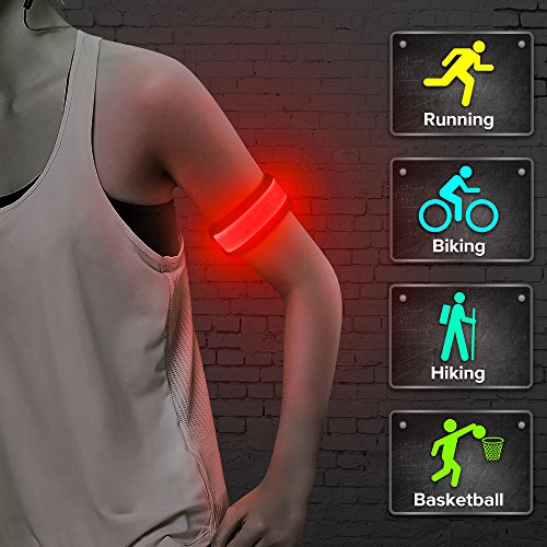 Higo LED Running Armband, Glow in The Dark Sports Wrist Band, Light Up Slap Bracelets, for Runners, Joggers, Cyclists (Red 45cm)
