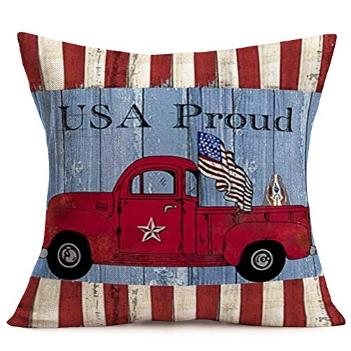 Aremazing Rustic American Patriotic Pillow Covers Farmhouse Decorative Cotton Linen Independence Day American Flag with Red Truck Throw Pillow Case Square Cushion Cover 18x18 Inch (USA Proud Truck)