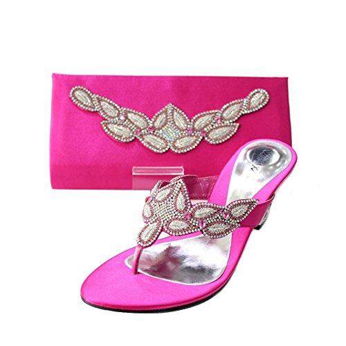 de Mesdames Chaussures Chaussures 4–10 confort mariage Soir amp; femmes bloc Assorti Modélisme bois Perk de amp; PECO Sac santal Diamante talon Taille nbsp; à enfiler et W un Vif W Rose OqRvt