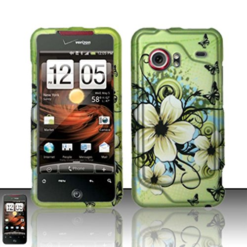 (LoliPops Rubberized Natural Green Hawaiian Flower Snap on Design Case Hard Case Skin for Htc Incredible 6300)