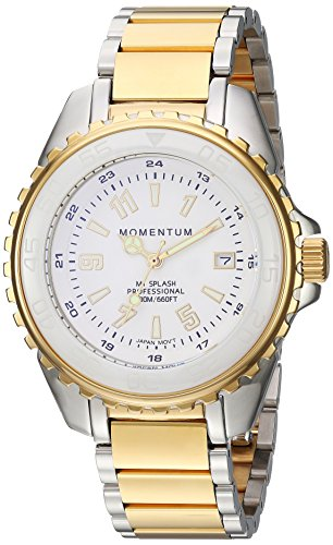 Momentum Women's Quartz Stainless Steel Diving Watch, Color:Two Tone (Model: 1M-DN65WS0)