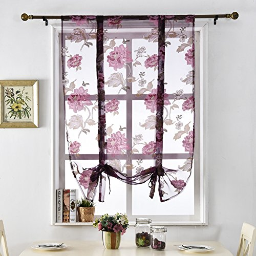 NAPEARL Floral Tie Up Organza Sheer Short Roman Curtain (42″Wx63″L, Purple)