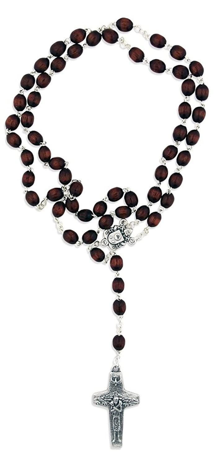 Pope Francis Papal Wood Rosary with Good Shepherd Cross
