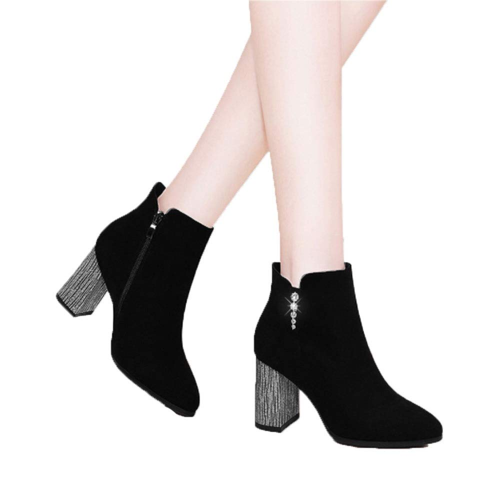 Casual Suede Versatile Round Head with high Heels FXNN Booties
