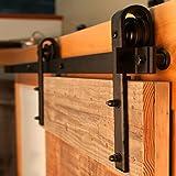 Bonnlo FCH 6.6 Feet Sliding Barn Door Hardware, No Noise Steel Barn Sliding Door Track Hardware Kit, Includes Rail, Rail Support, Roller, Door Stop, End Cap, Floor Guide (Shape J)